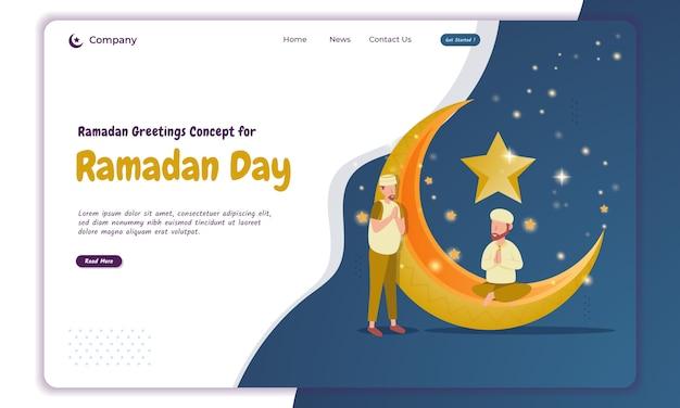 Ilustración de saludo del día de ayuno de ramadán en la página de destino