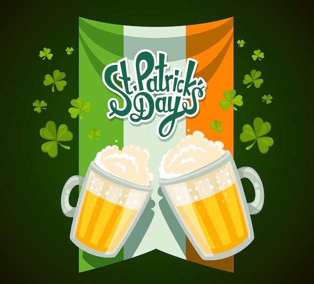 Ilustración del saludo del día de san patricio con dos grandes jarras de cerveza amarilla con tréboles, bandera irlandesa y texto sobre fondo verde. arte