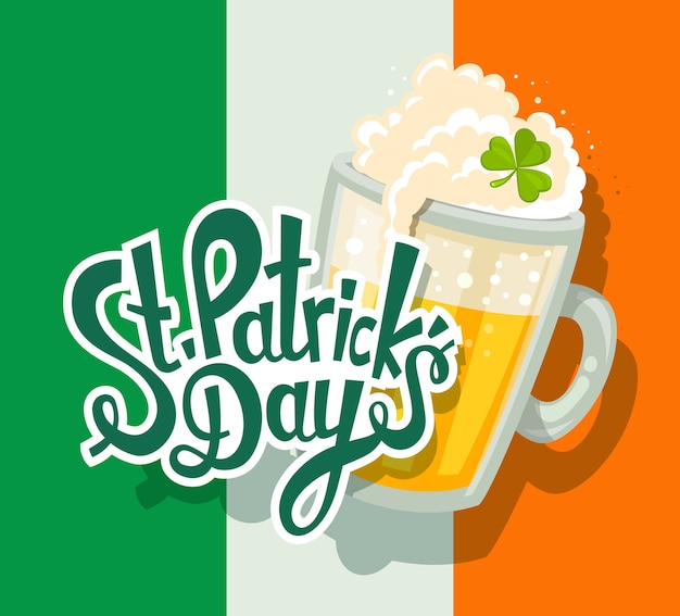 Ilustración del saludo del día de san patricio con gran jarra de cerveza amarilla con trébol y texto sobre fondo de bandera irlandesa. arte