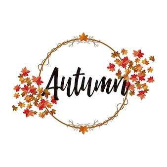 Ilustración saludo fondo hojas de otoño.
