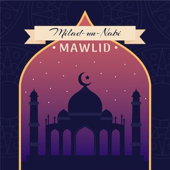 Ilustración de saludo mawlid milad un nabi