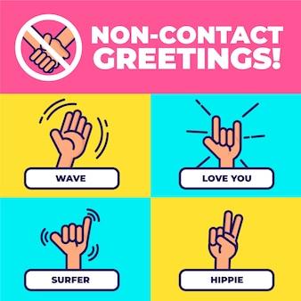 Ilustración de saludos sin contacto