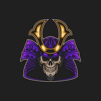 Ilustración de samurai de máscara de cráneo