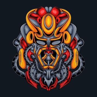 Ilustración de samurai de monstruo mecha