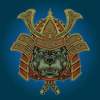 Ilustración de samurai pitbull