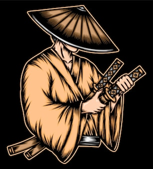Ilustración de samurai ronin.
