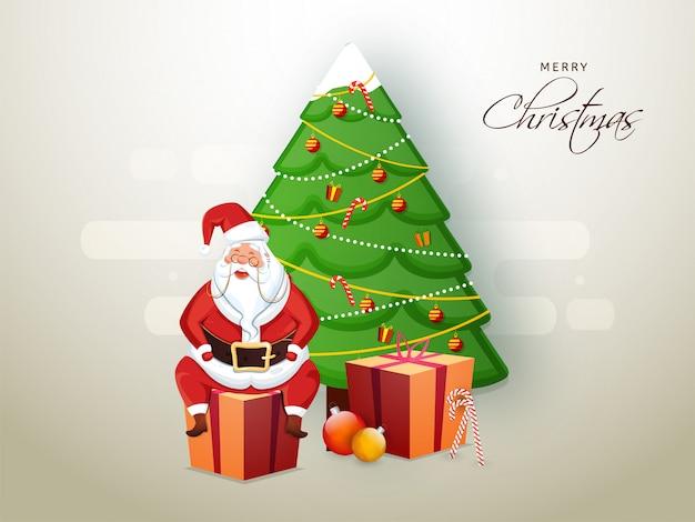 Ilustración de santa claus sentado en caja de regalo con árbol decorativo de navidad con motivo de la celebración de feliz navidad.