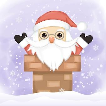 Ilustración de santa para decoración navideña