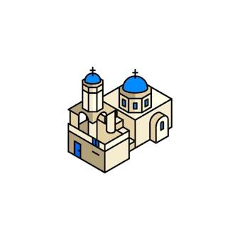 Ilustración de santorini grecia
