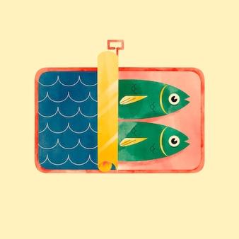 Ilustración de sardina acuarela pintada a mano