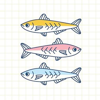 Ilustración de sardina deliciosa plana