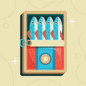 Ilustración de sardina de diseño plano