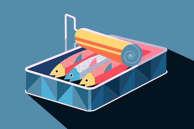 Ilustración de sardinas enlatadas deliciosas de diseño plano