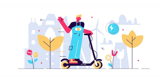 Ilustración de scooter eléctrico. pequeño concepto de persona de transporte eléctrico. equipo de dispositivos de conducción al aire libre para tráfico alternativo o favorable al medio ambiente. estilo de vida activo, urbano o innovador.