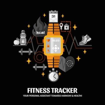 Ilustración de seguimiento de fitness