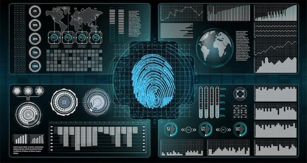 Ilustración de seguridad de bloqueo cibernético. ilustración de negocios infografía futurista seguridad de red, seguridad, privacidad. pantalla de tecnología futurista hud.