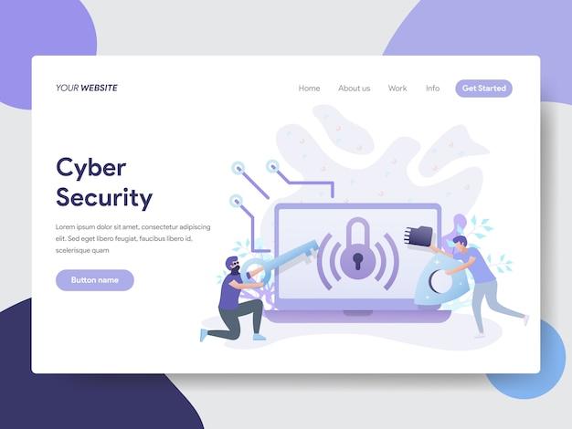 Ilustración de seguridad cibernética para páginas web