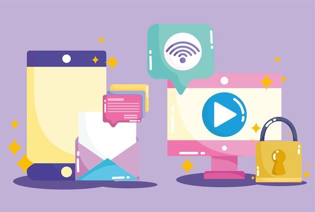 Ilustración de seguridad de datos de internet wifi de correo electrónico de teléfono inteligente de computadora de redes sociales