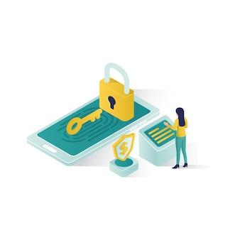 Ilustración de seguridad de datos isométrica, seguridad de datos de personas en diseño de estilo isométrico.
