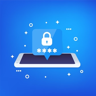Ilustración de seguridad móvil, acceso con contraseña y autenticación con teléfono inteligente