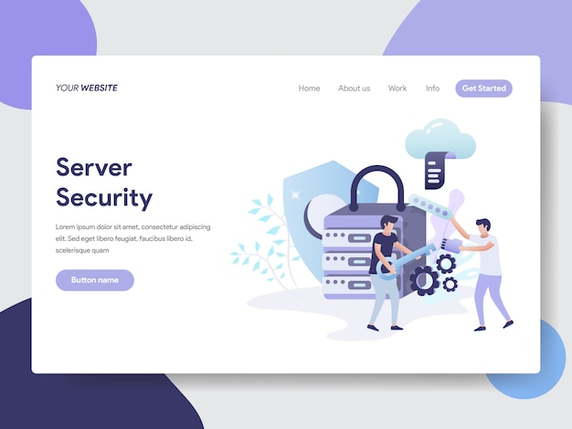 Ilustración de seguridad del servidor para páginas web