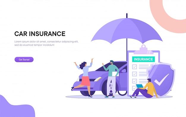 Ilustración del seguro de automóvil. el hombre y la mujer tratan con un agente de seguros y un formulario de firma,