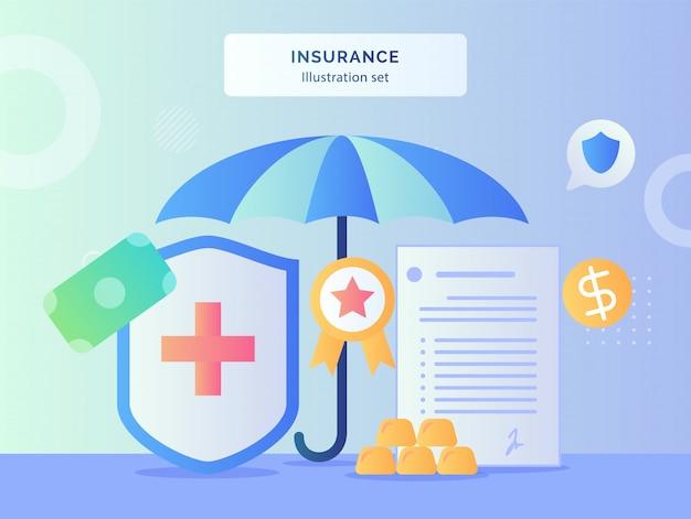 Ilustración de seguro conjunto paraguas alrededor de escudo de la cruz roja certificado cinta contrato carta póliza dinero con estilo plano