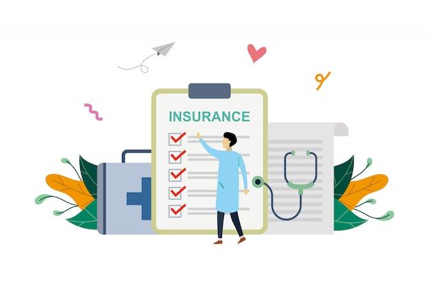 Ilustración de seguro de salud, pequeño doctor llenando documento médico en estilo plano
