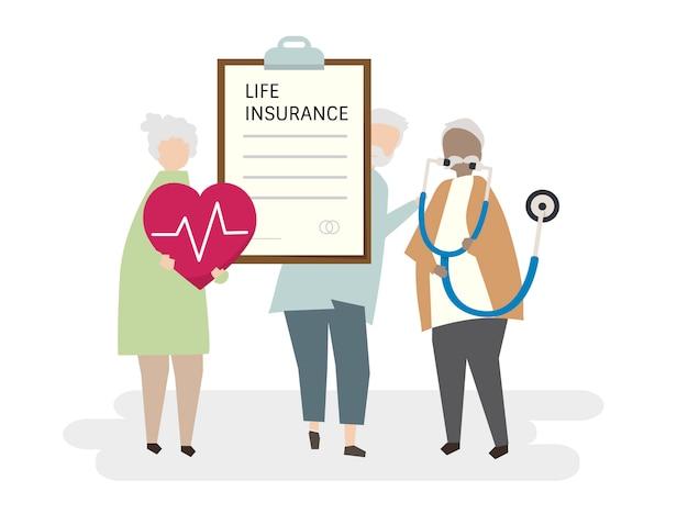 Ilustración del seguro de vida para adultos mayores