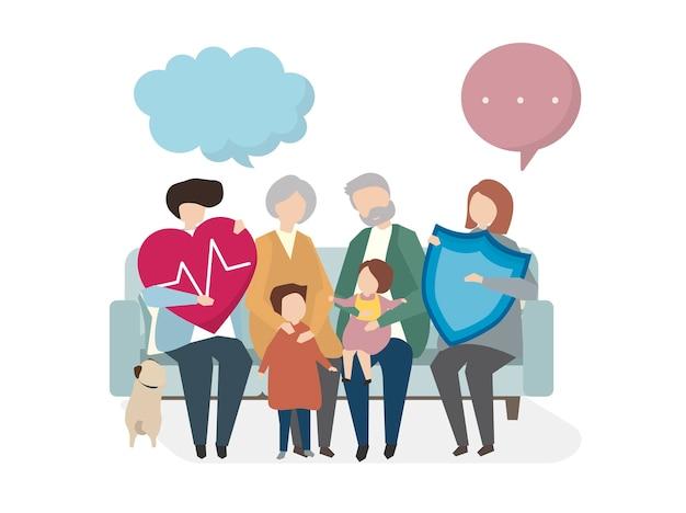Ilustración del seguro de vida familiar.