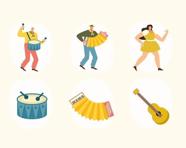 Ilustración de seis iconos de músicos e instrumentos