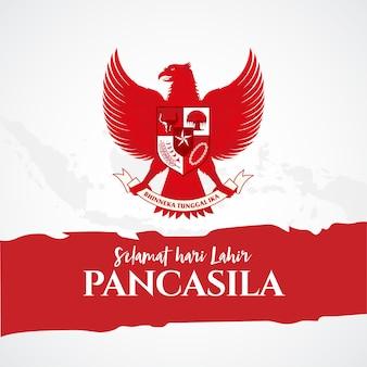 Ilustración. selamat hari lahir pancasila. traducción: feliz día de pancasila. .