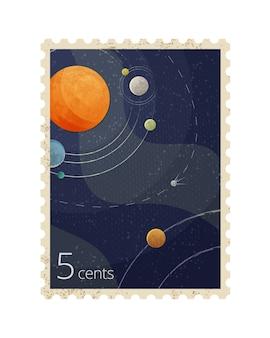 Ilustración de sello postal espacial vintage con planetas aislado sobre fondo blanco.