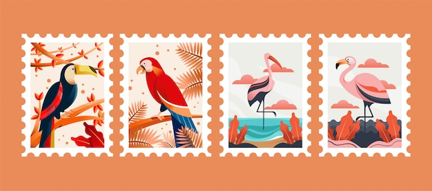 Ilustración de sellos postales de animales de aves