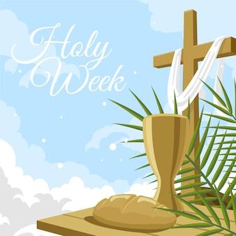 Ilustración de semana santa con cruz, vino y pan.