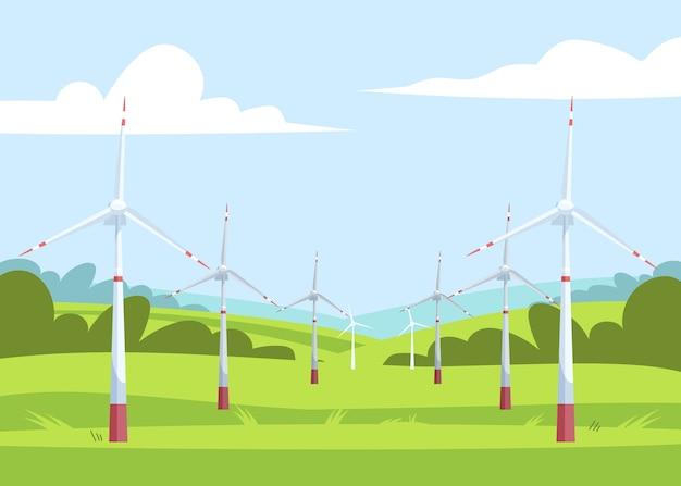 Ilustración semi de energía alternativa. generadores de electricidad ecológicos. molinos de viento en el paisaje de campo. paisaje de dibujos animados de la industria de energía eléctrica renovable para uso comercial