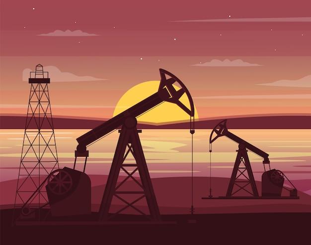 Ilustración semi de la estación de perforación petrolera. tecnología de fábrica de la industria del gas. bombas de pozo y plataforma petrolera. equipo industrial en paisaje de dibujos animados al atardecer para uso comercial