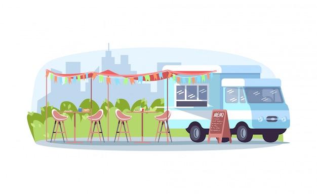 Ilustración de semi evento de comida diurna
