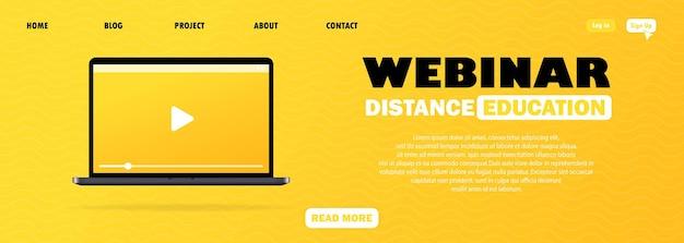 Ilustración de seminario web o educación a distancia