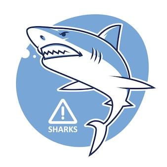 Ilustración, señal de advertencia de tiburón malvado, formato eps 10