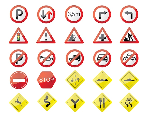 Ilustración de señales de tráfico