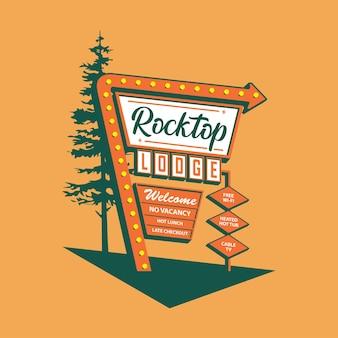 Ilustración de señalización de motel rocktop lodge con diseño de flecha de luz de neón