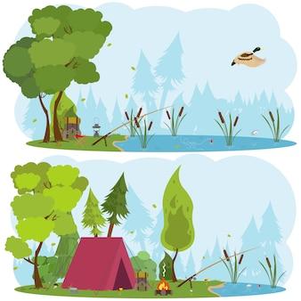 Ilustración de senderismo y camping