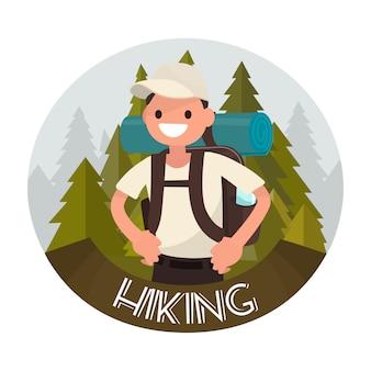 Ilustración de senderismo logo