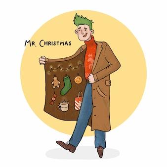Ilustración del señor con adornos navideños en el abrigo