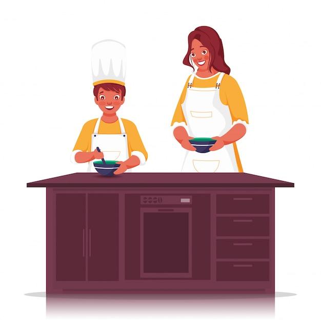 Ilustración de la señorita ayudando a un niño a hacer comida en la cocina de casa.