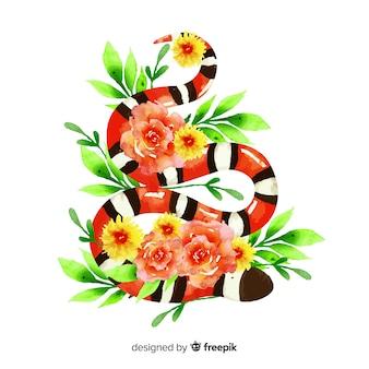 Ilustración serpiente acuarela con flores