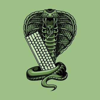 Ilustración de serpiente cobra con teclado