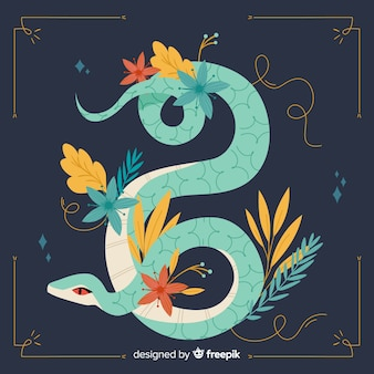 Ilustración serpiente dibujada a mano con flores