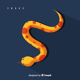 Ilustración de serpiente con estilo plano colorido
